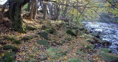 Steine der im Krieg gesprengten Brücke am Aggerufer in Ehreshoven